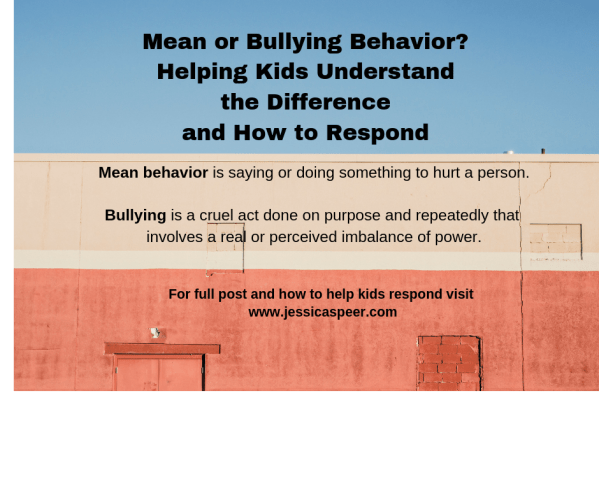 image with the definitions of mean and bullying behavior