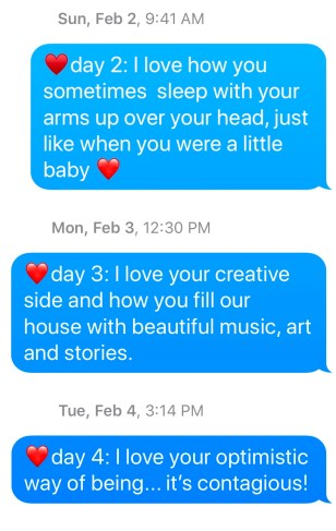 Photo of text messages sharing love