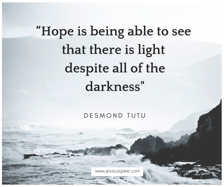"photo of ocean waves hitting rocks with Desmond Tutu quote, ""Hope is being able to see that there is light despite all of the darkness"