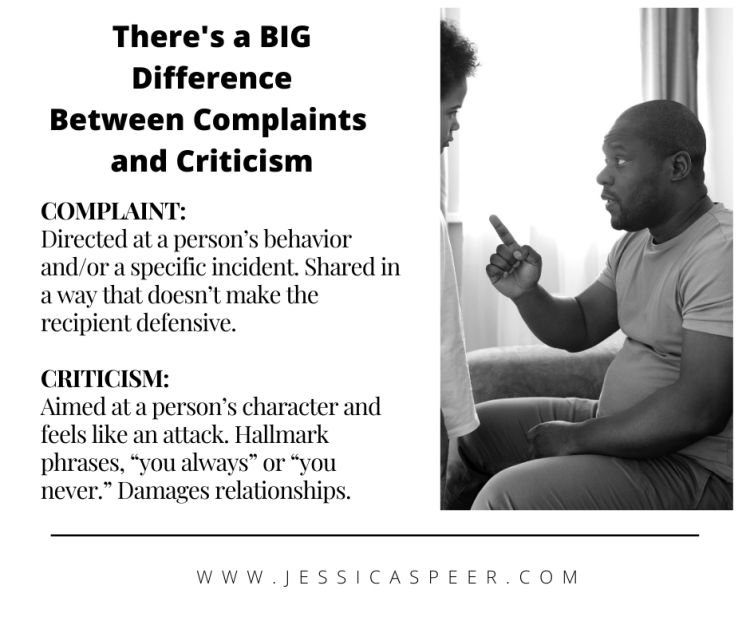 Definition of complaint versus criticisms. Image of father and son having discussion