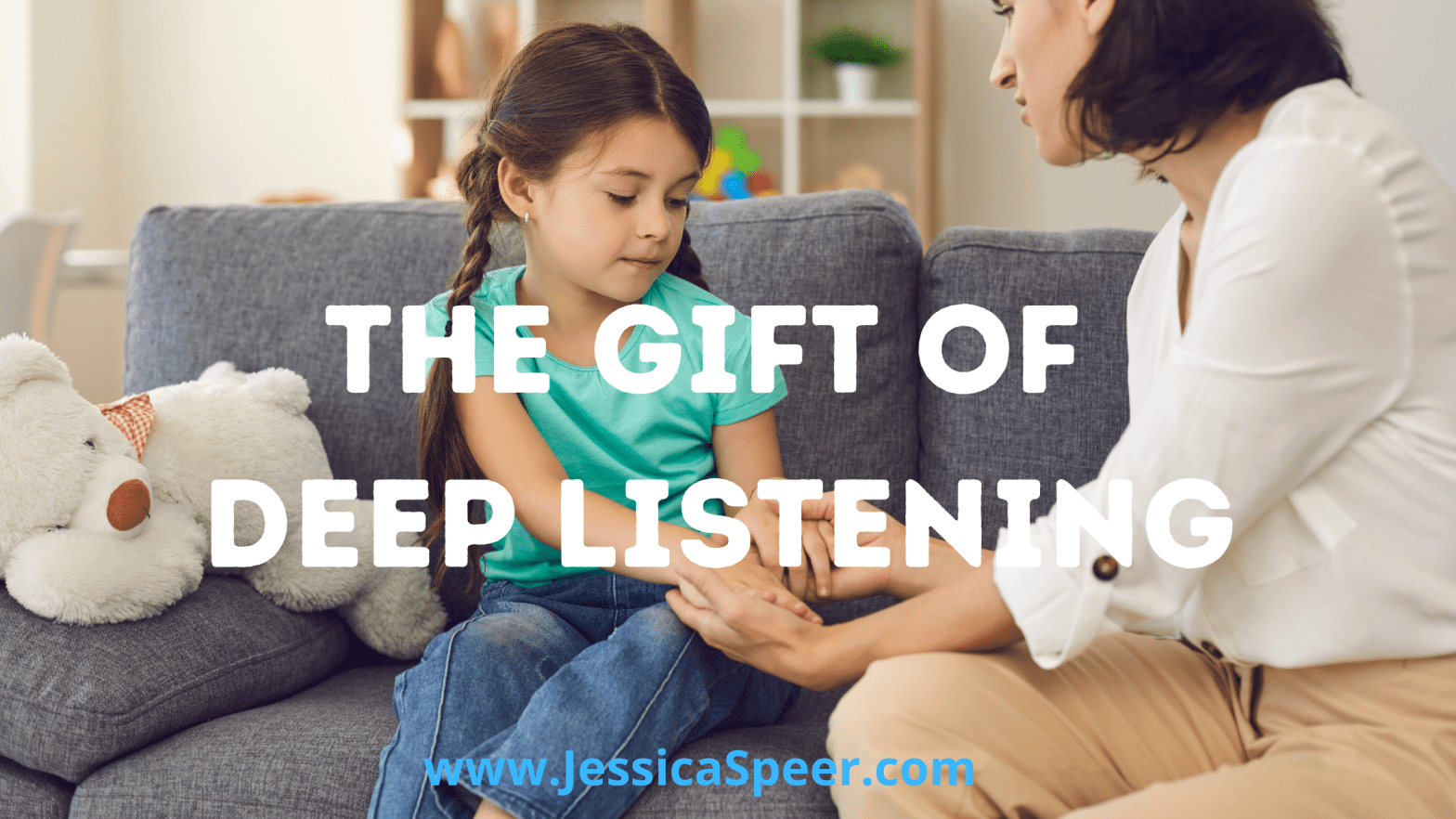 "Photo of mom and daughter talking with text ""The Gift of Deep Listening"""