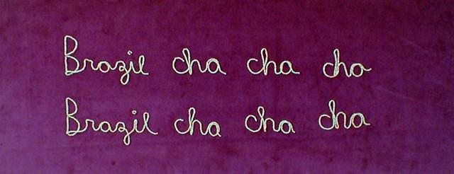 Football Chants Series (Brazil Cha Cha Cha...), beaded text on velvet, 2006. Galerie-33, Berlin.