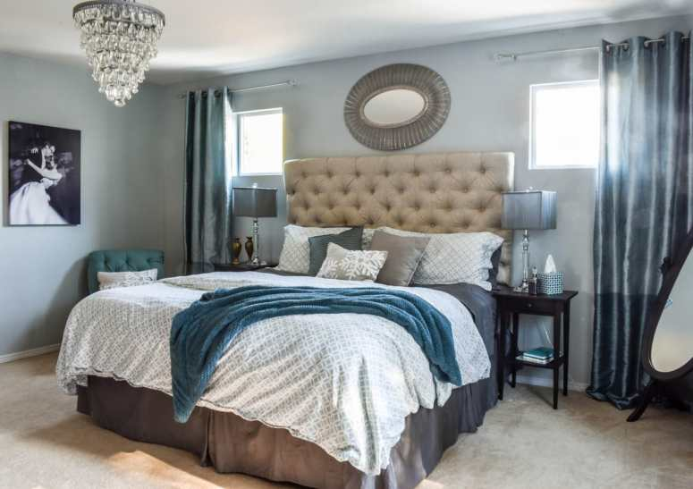 Master Bedroom, tufted headboard, glam bedroom