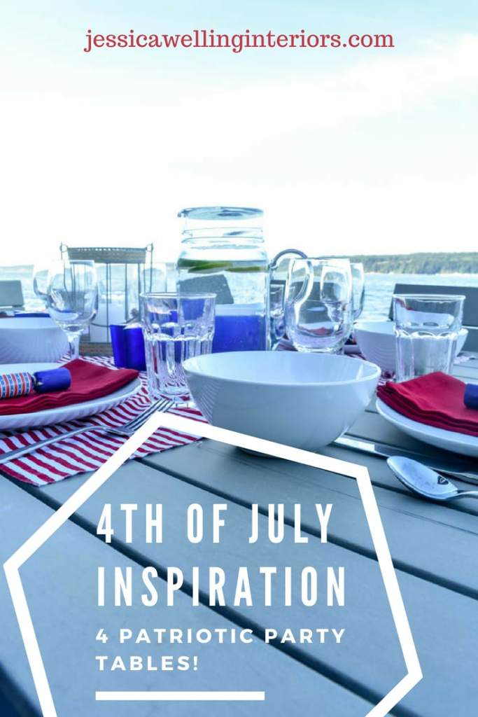 4th of July table set for an outdoor dinner party with red white and blue decorations