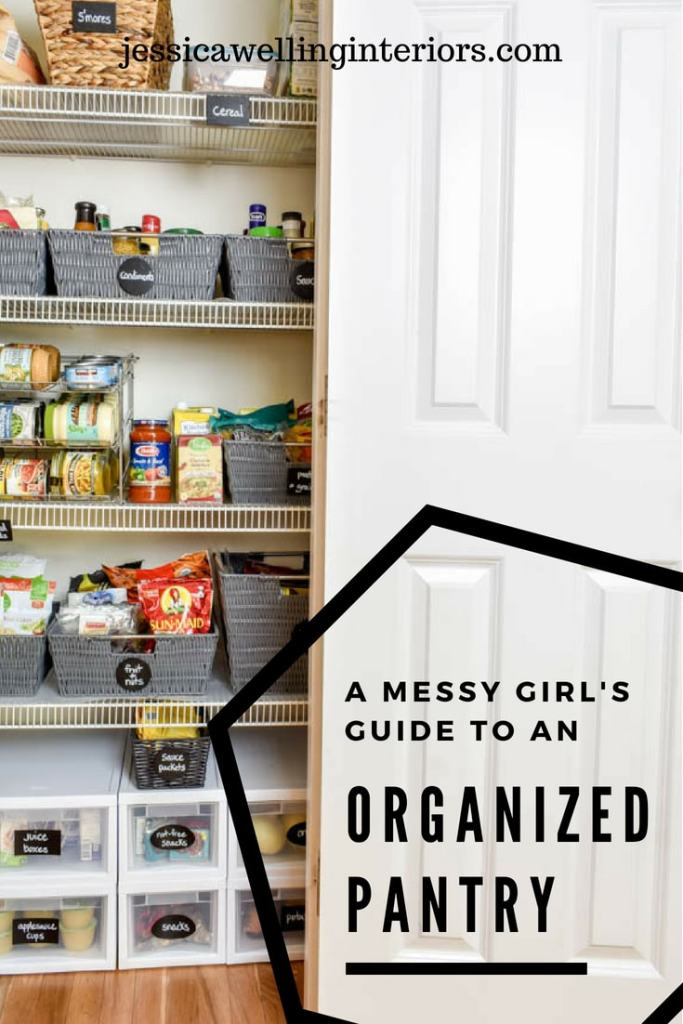 This small organized pantry closet  on a budget with shelves and baskets is full of cheap and easy ideas to keep all your food and containers visible and easy to access!