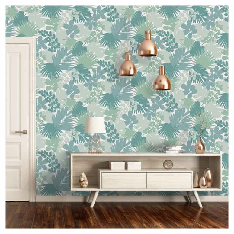 photo of blue, green and teal tropical leaf wallpaper with cammode
