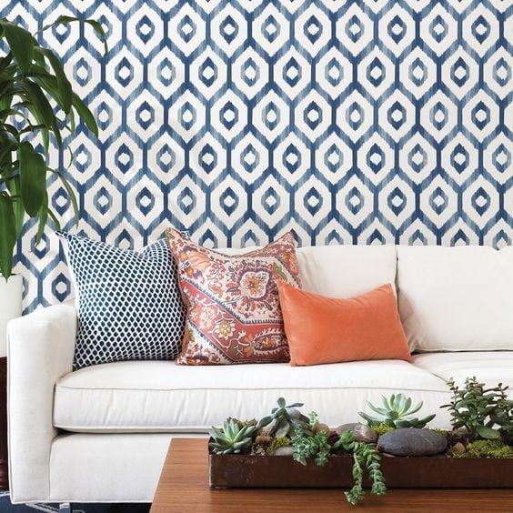 photo of modern white and blue diamond wallpaper with white sofa