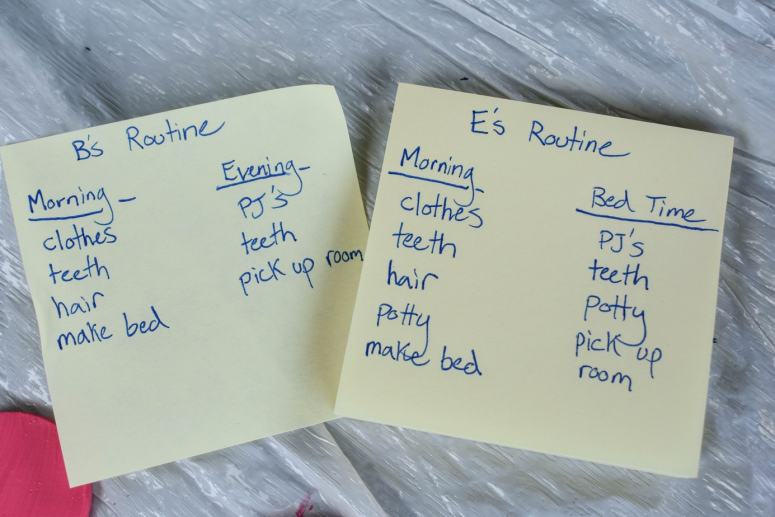 photo of lists of morning routine activities