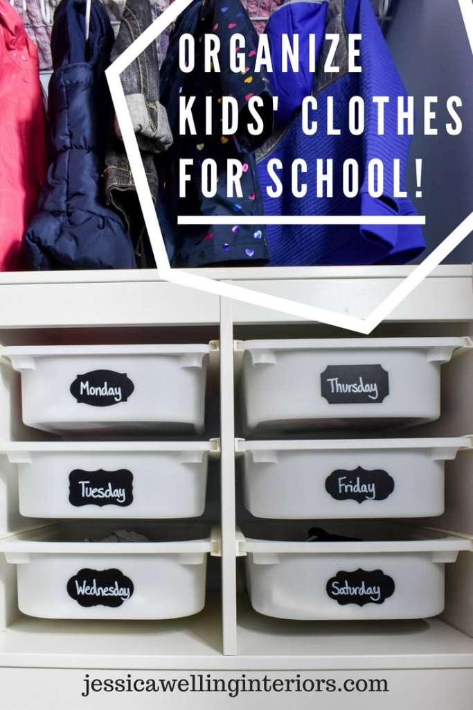 photo of organized kid closet for back to school