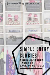 photo of entry cubbies with hooks for backpacks, ikea hack