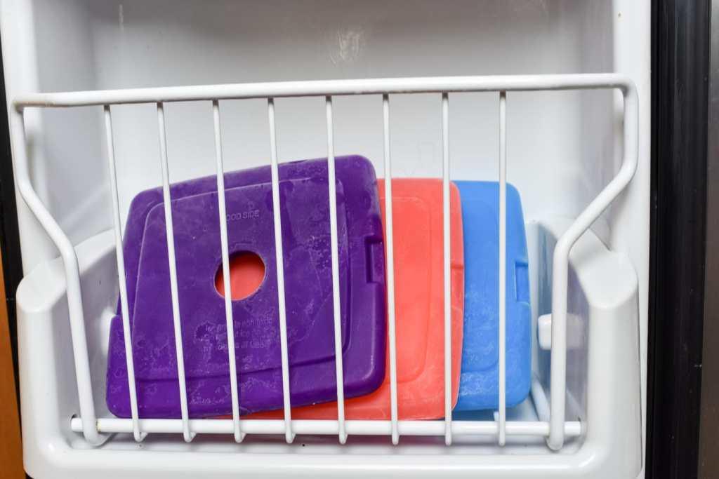 flat ice packs in freezer door