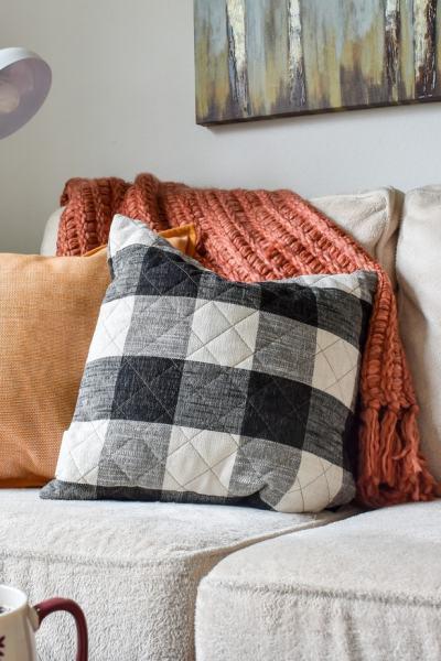 photo of cozy Fall throw pillows & blankets on sofa