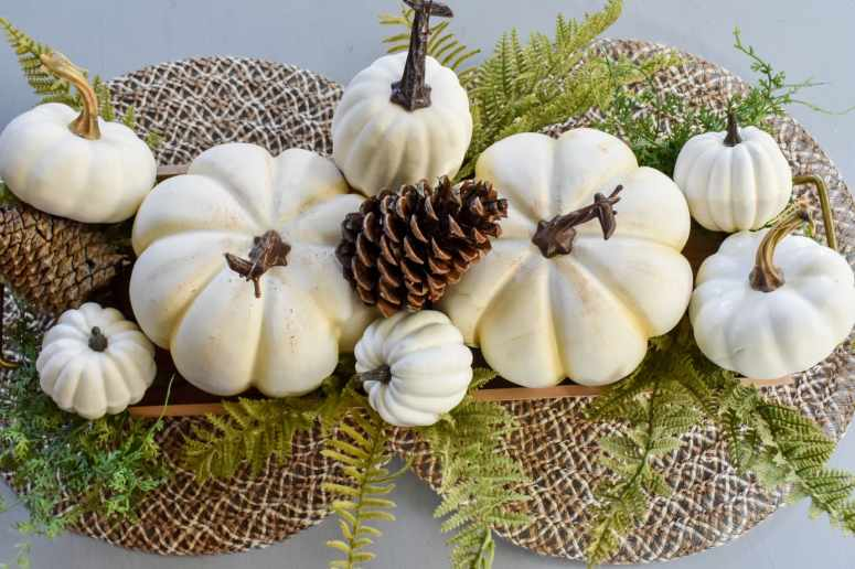 photo of easy white pumpkin centerpiece