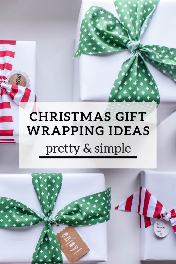 Need holiday gift wrapping ideas? These ideas, using solid white and brown paper and patterned fabric as ribbon are a pretty and simple way to streamline your Christmas gift wrapping!