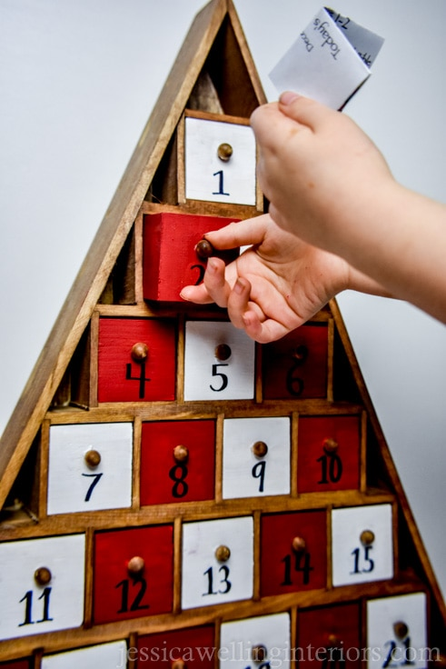 Make your own reusable advent calendar! It's great for kids and adults alike. Fill the boxes with little toys, candy, notes, or whatever you like!