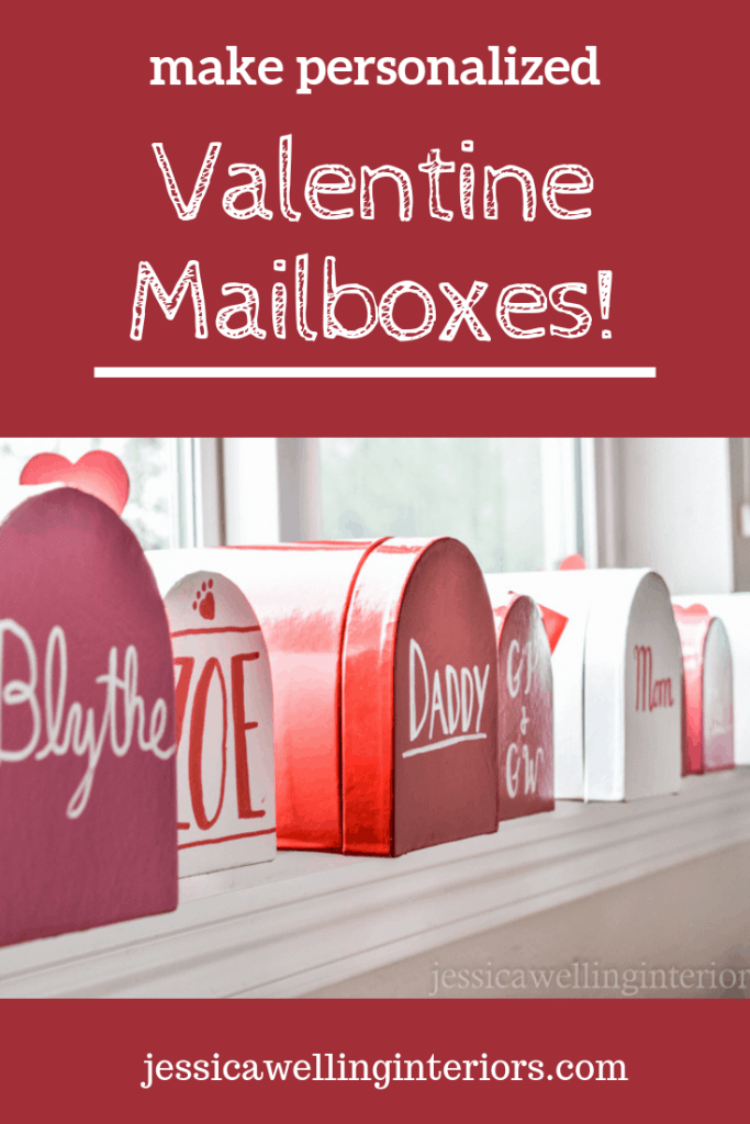 image of personalized valentine mailboxes lined up on windowsill