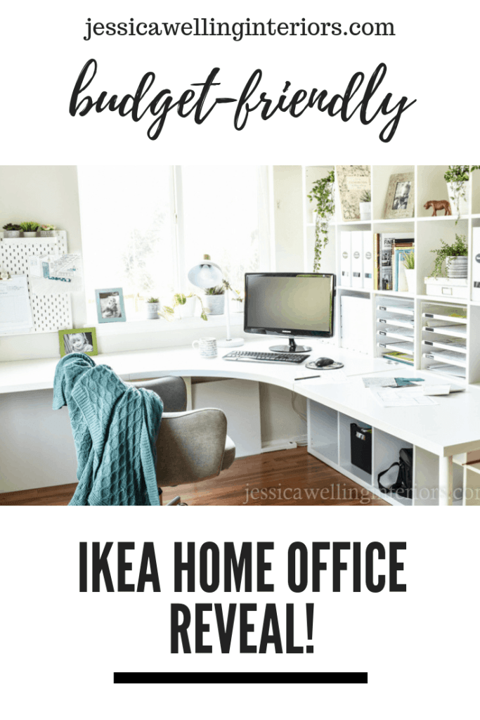 Budget-Friendly Ikea Home Office Reveal! Image of white office with kallax bookshelf and linnmon desk