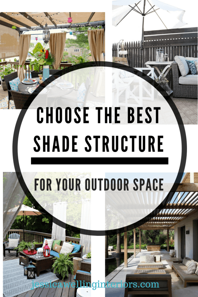 collage of patio shade ideas with a pergola, outdoor umbrella, and outdoor curtains