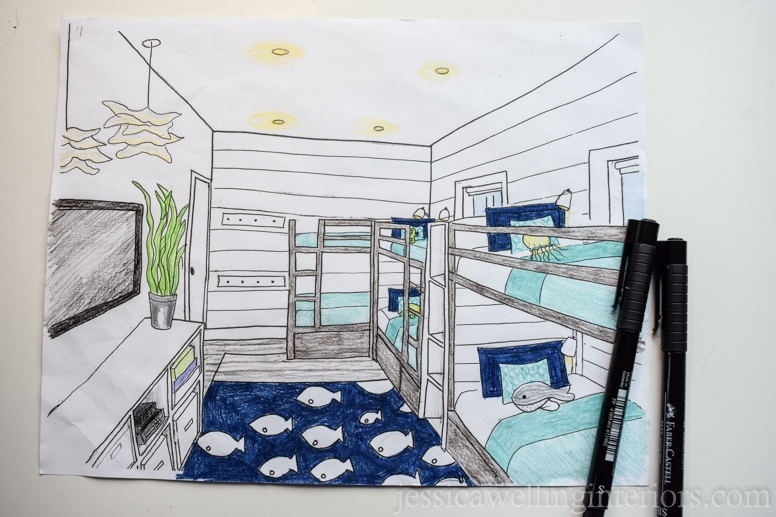 drawing of a  beach house bunk room with 6 bunk beds and a fish rug