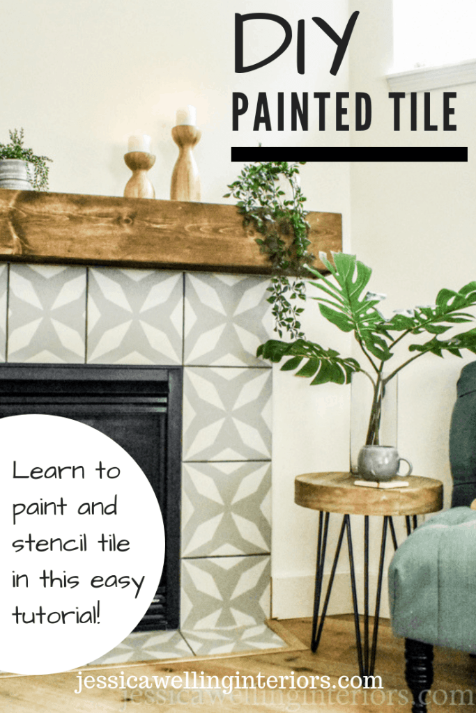 DIY Painted Tile: Learn to paint and stencil tile in this easy tutorial! Fireplace surrounded by faux cement tile with chair, end table, and plant