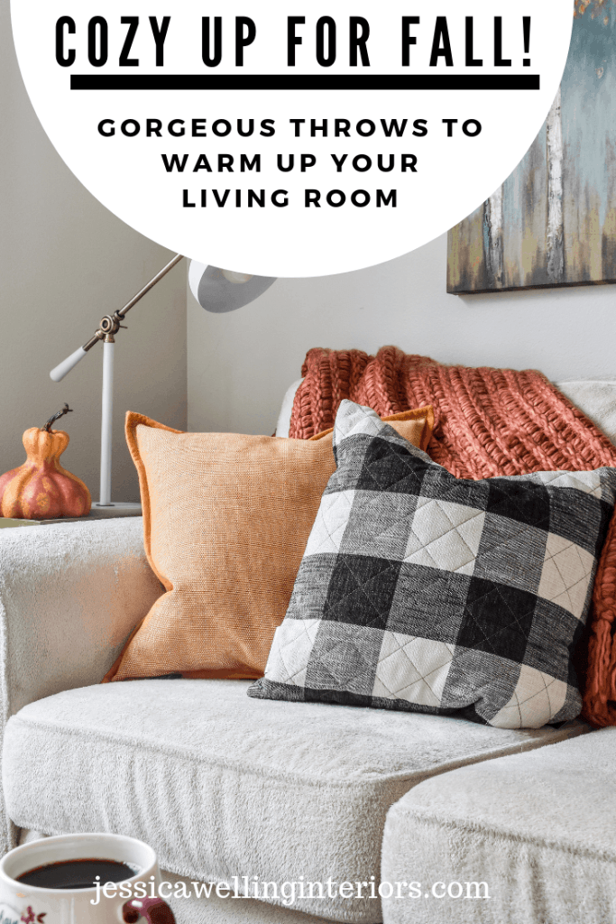 Cozy Up For Fall: Gorgeous Throws to Warm Up Your Living Room: Sofa with orange throw blanket, yellow pillow, and buffalo plaid pillow for Fall