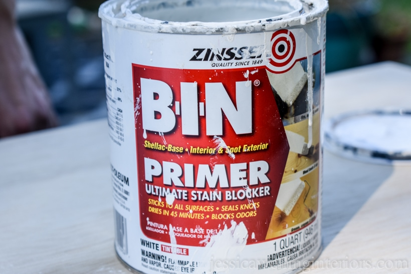 open can of Zinsser BIN primer ready to be used on DIY floating desk