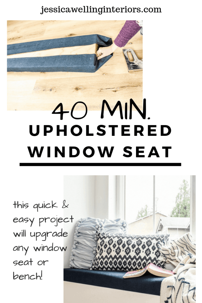 40 Min Upholstered Window Seat: this quick and easy project will upgrade any window seat or bench! hands wrapping and stapling upholstery fabric on window seat cushion and image of finished window seat with upholstered bench cushion, throw pillows, and blanket