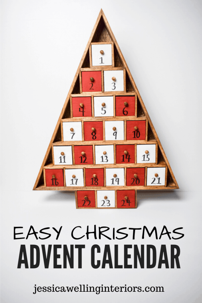 Easy Christmas Advent Calendar: wood christmas-tree-shaped advent calendar with red and white painted drawers