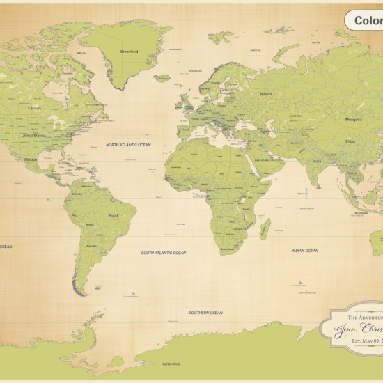 cotton anniversary map world push pin map in antique green