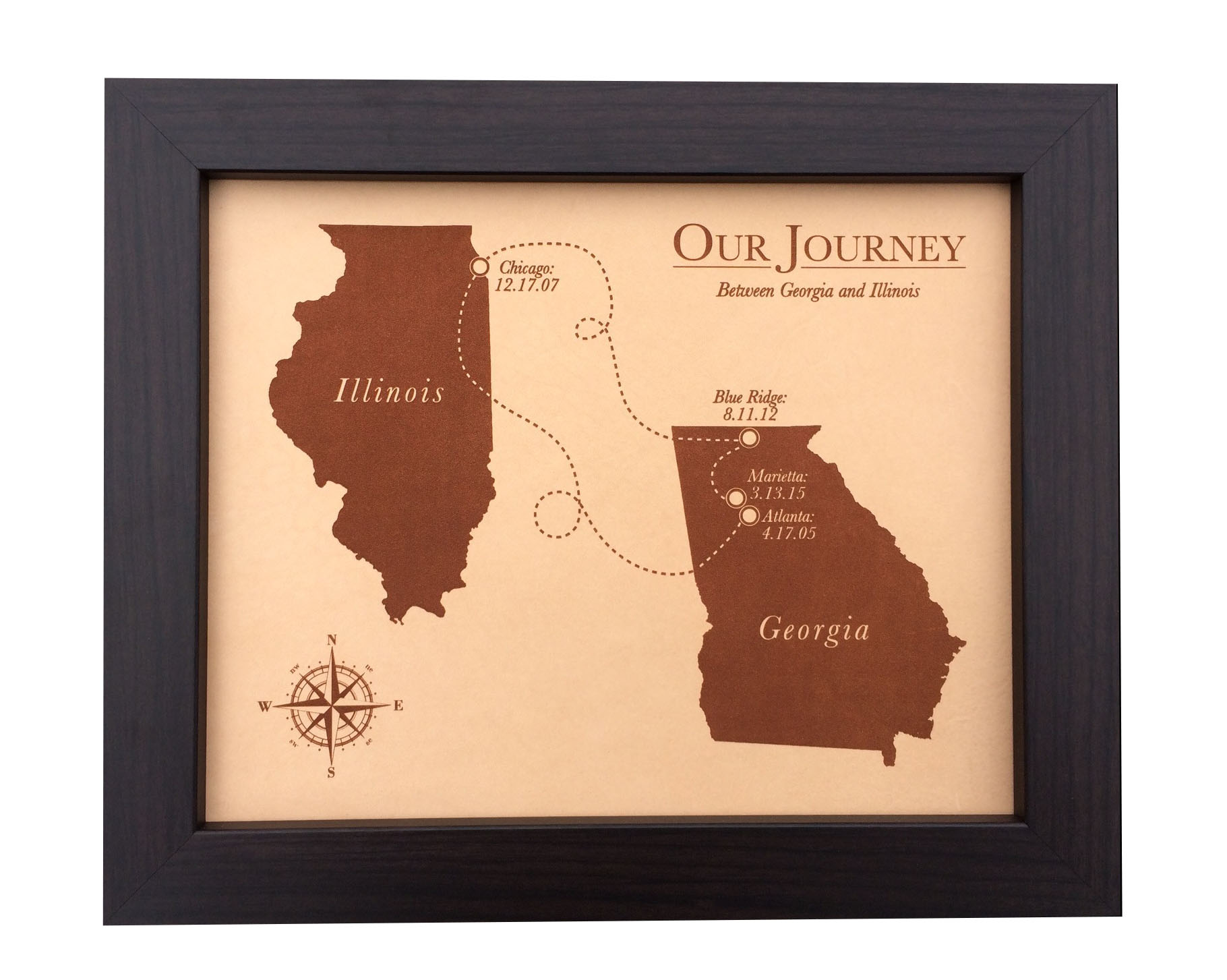 9th Wedding Anniversary Gift Leather: Leather Keepsake Map Of Where Your