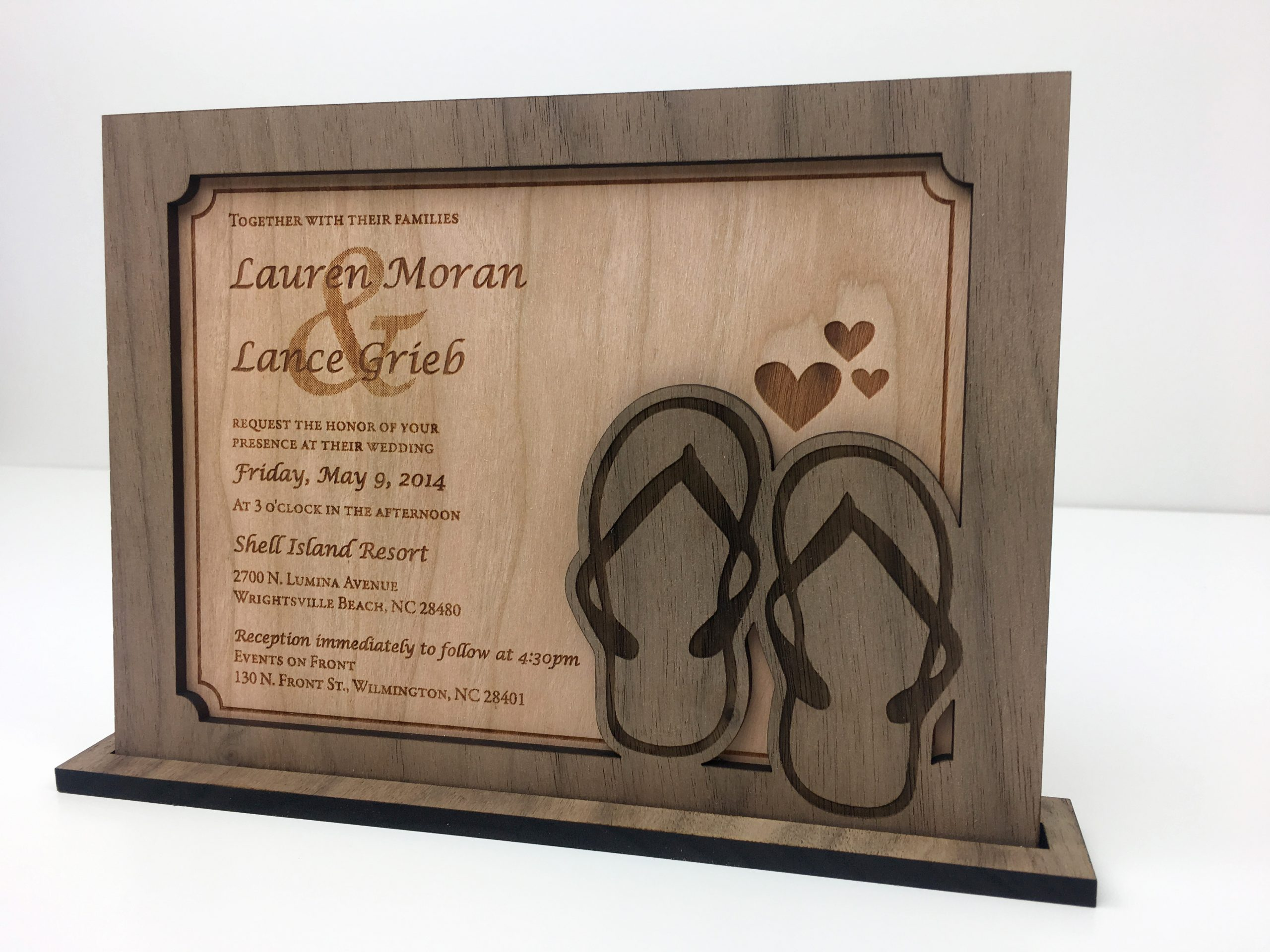 5th Anniversary Wood Wedding Invitation Gift