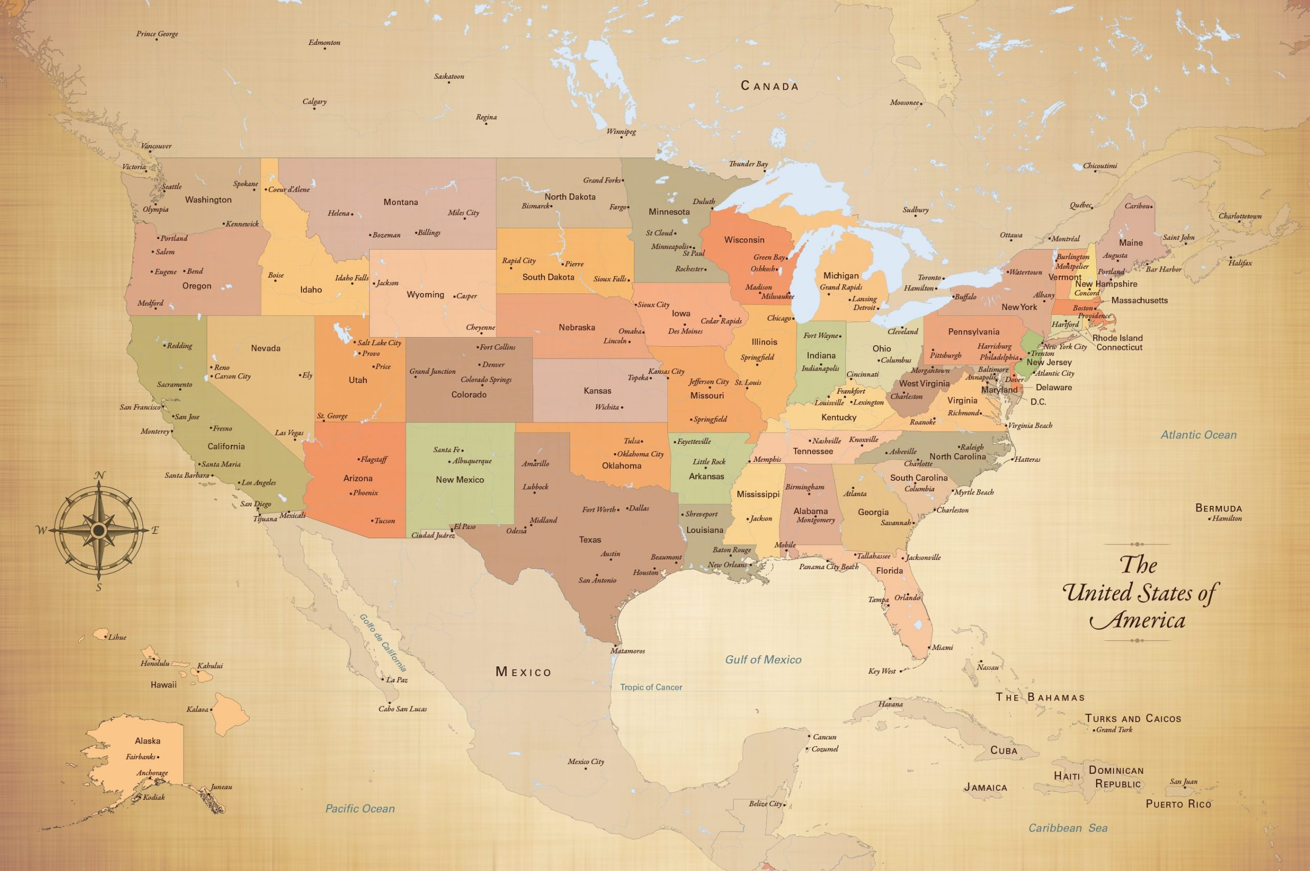 United States Push Pin Map With City Detail And 100 Map Pins 24 X 36