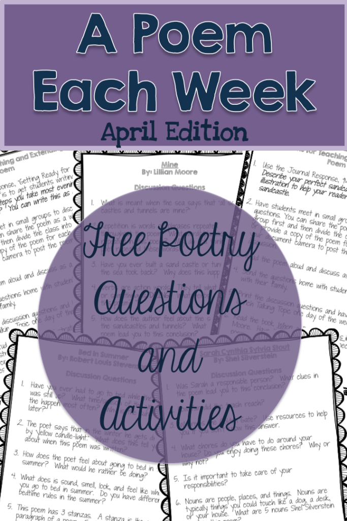 Free poetry resources for April. 4 weeks of questions and activities.