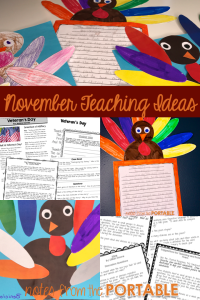 Fun ideas for teaching in November. Free turkey template for preschool puzzles, art activities, and bulletin boards.