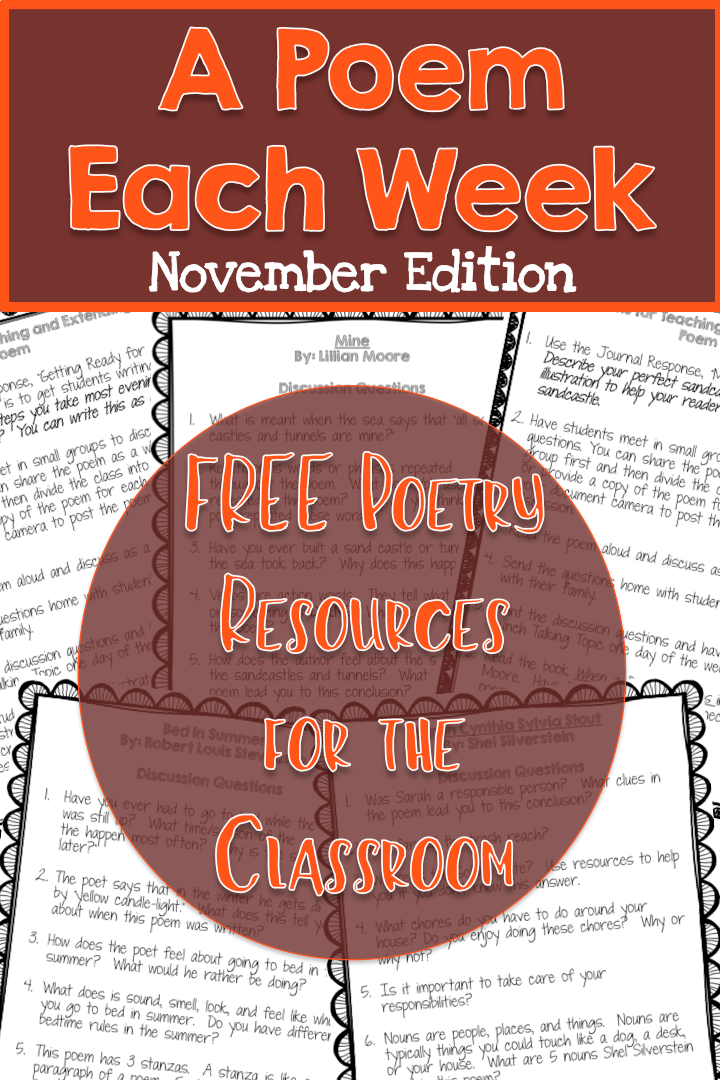 FREE November A Poem Each Week - 4 November Poems