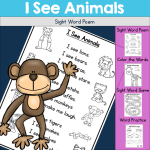 I see Animals sight word poem for beginning readers.