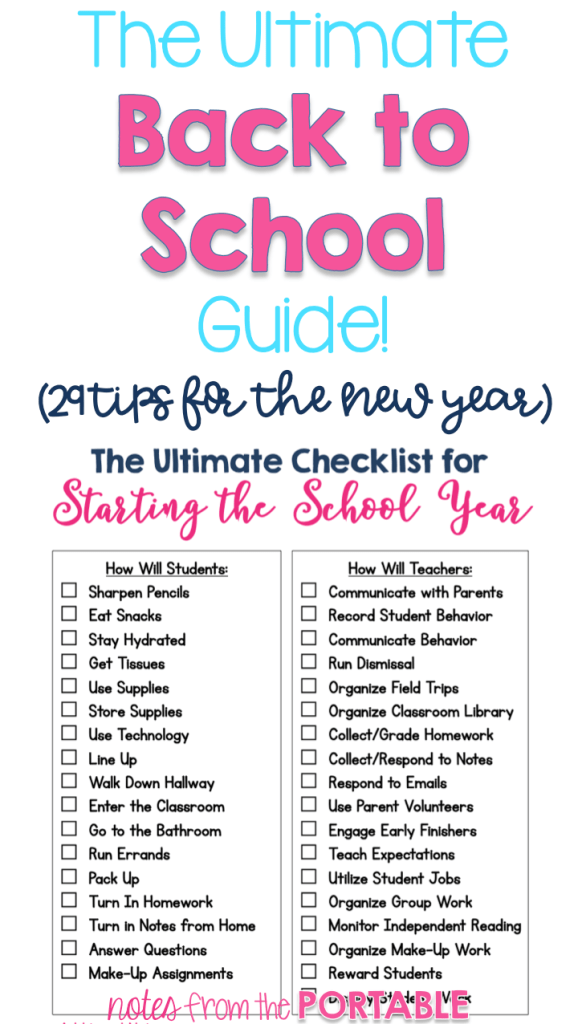 Love this checklist for back to school! 29 tips for teachers