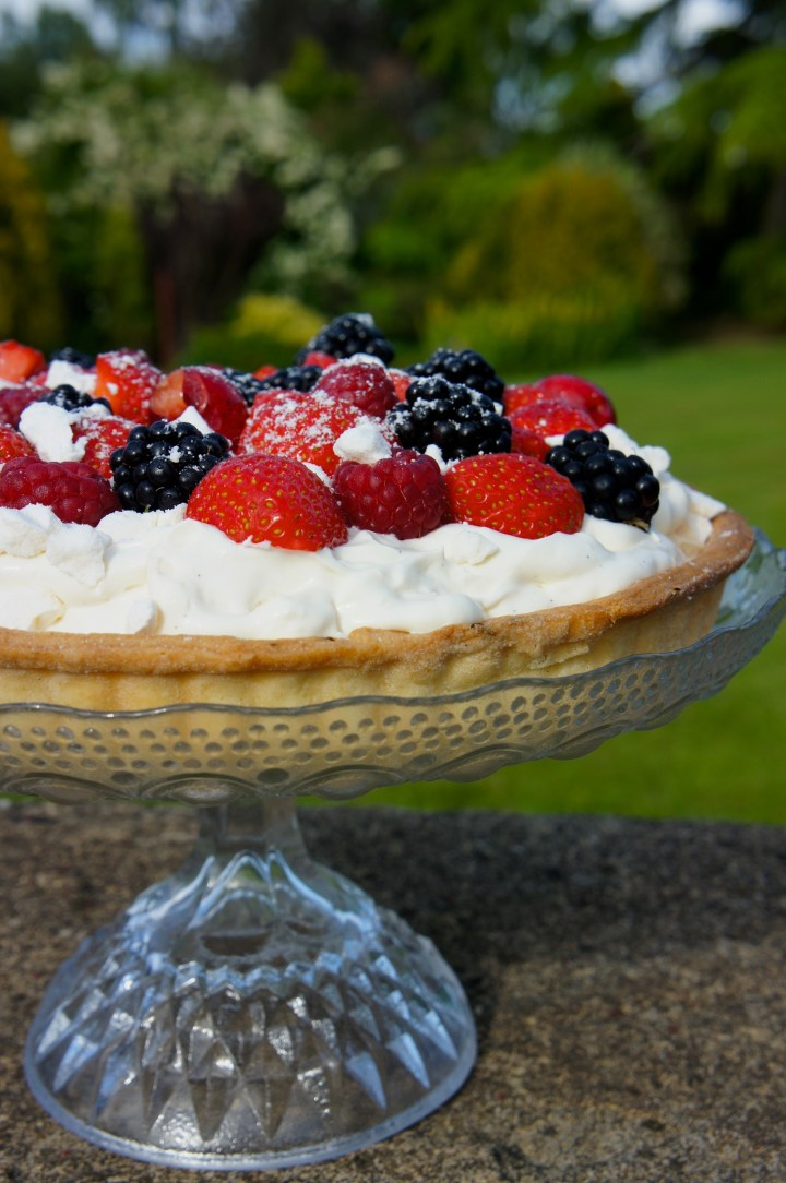 Summer fruit pavlova tart