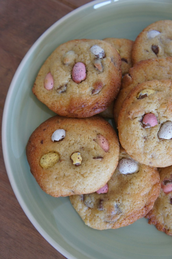 Mini Egg and white chocolate cookies