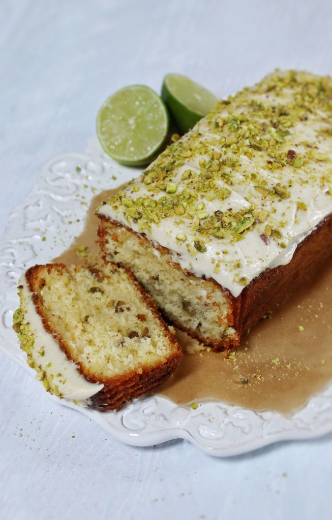 Lime and pistachio loaf cake