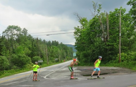 Simi, Ben and Koby rounding the corner to start the uphill part of their interval (photo by Sverre Caldwell)