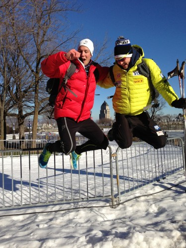 """Skyler and Eric doing """"that girly jumpy photo thing"""" in Quebec"""