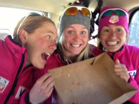 Ida, Sadie and Sophie celebrate a loooooong uphill ski with a treat!