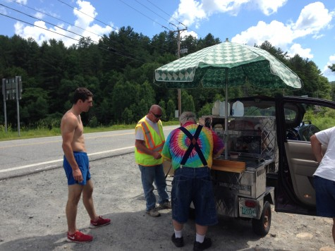 Ben visiting the famous roadside stand near Windham, VT