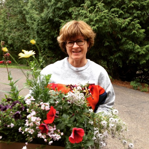 Mom with all the new flowers we got to plant on Mother's Day