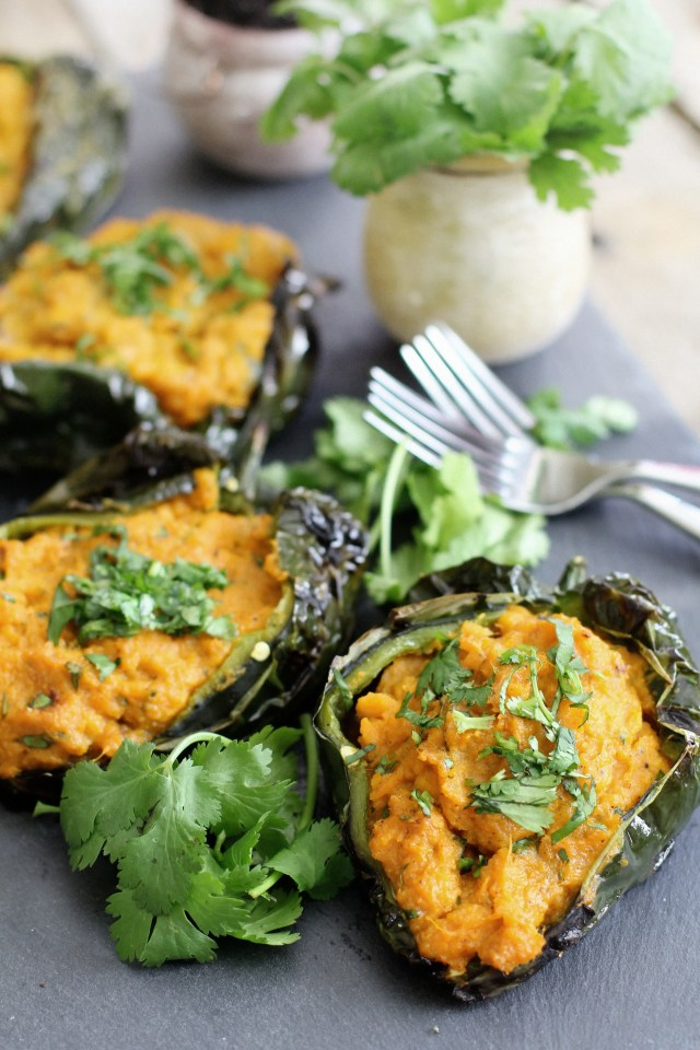 Roasted Poblano Peppers with Smashed Sweet Potato Filling