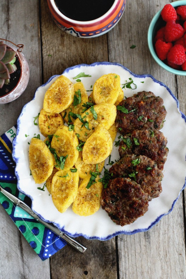 Fried Plantains and Breakfast Sausage