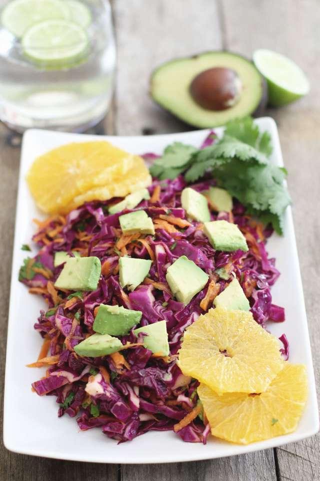 Red cabbage citrus salad