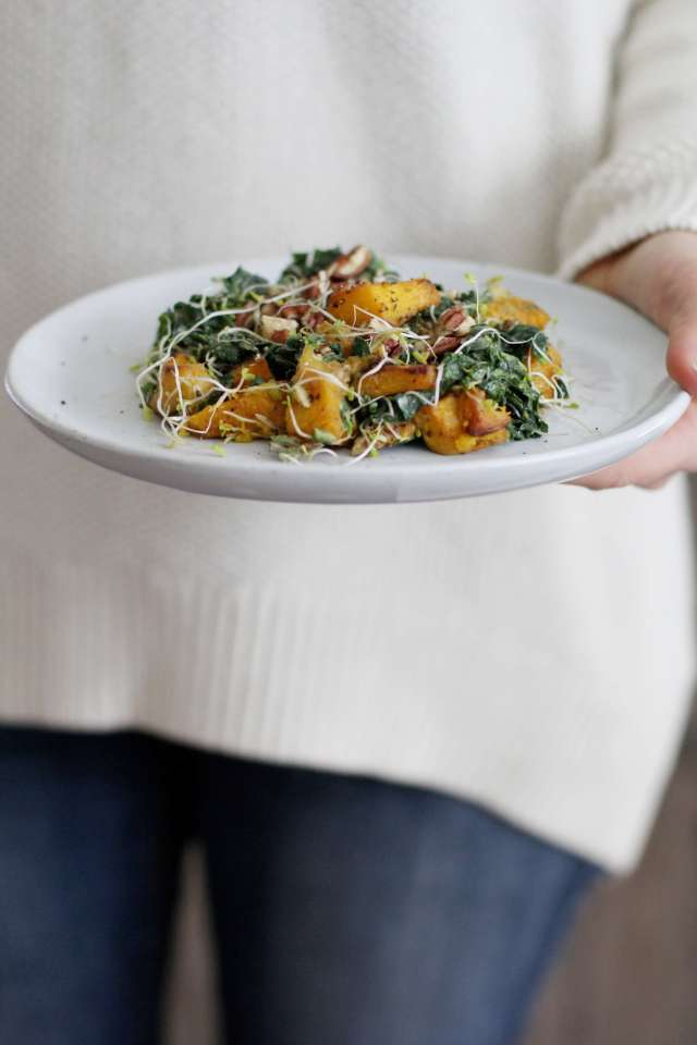Massaged Kale and Roasted Pumpkin Salad