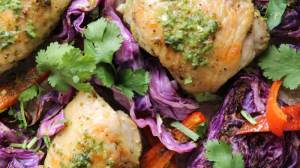 Cilantro Chicken Thighs with Red Cabbage and Peppers